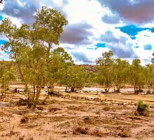 The Todd River in flood - Alice Springs by Geoffrey Thomas