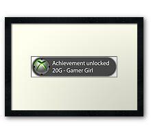 Achievement Unlocked - 20G Gamer Girl Framed Print