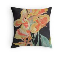 Orange And Yellow Canna Lily on Black Throw Pillow