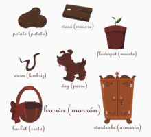 Colors: brown (Los colores: marrón) Kids Tee