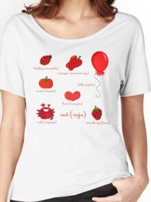 Colors: red (Los colores: rojo) Women's Relaxed Fit T-Shirt