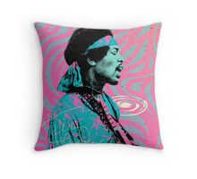 Jimi Hendrix - Psychedelic Sixties by Pepe Psyche Throw Pillow