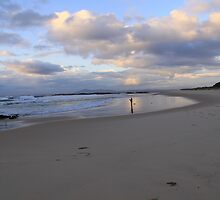 Dawn Fisherman on Back Beach, Black Head NSW by AdelinaBasile