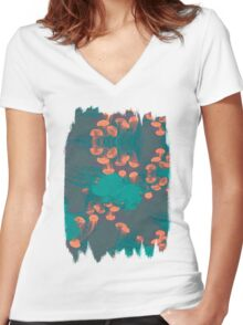Medusa / Crazy Jellyfish Blue Atoll Women's Fitted V-Neck T-Shirt