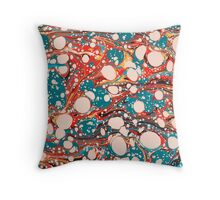 Psychedelic Marbled Paper Blob Throw Pillow