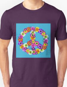 Peace Sign Floral on Blue T-Shirt