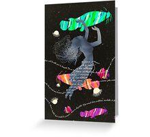 Space Surrealism Pop Vintage Woman II Greeting Card