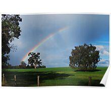 Rainbow over the farm, Western Australia Poster