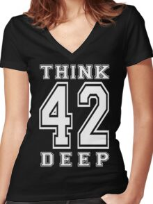 Think Deep 42 Women's Fitted V-Neck T-Shirt