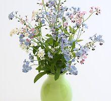 forget-me-nots in green vase by OldaSimek