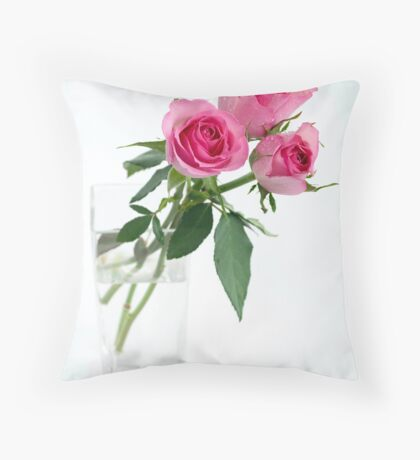 three roses in vase Throw Pillow