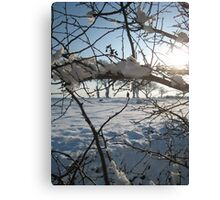 Walking the dog across snowy field, East Sussex Canvas Print