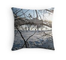 Walking the dog across snowy field, East Sussex Throw Pillow