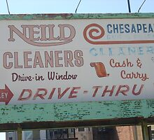 Old Cleaners Sign by porksofpig