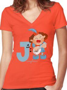 j for jongleur Women's Fitted V-Neck T-Shirt
