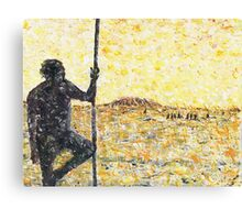 Aborigine with fighting stick Canvas Print