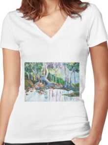 Indigiscape in Colour Women's Fitted V-Neck T-Shirt