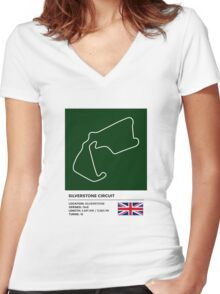 Silverstone Circuit - v2 Women's Fitted V-Neck T-Shirt