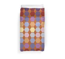 Warm berry colors hexagon quilt blocks Duvet Cover