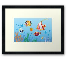 Under the blue sea design Pillows & Totes  Framed Print