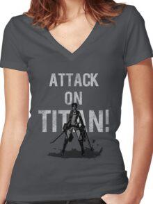 Attack On Titan Eren Jaeger Women's Fitted V-Neck T-Shirt