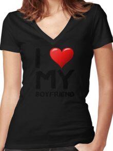 I love (heart) my boyfriend Women's Fitted V-Neck T-Shirt