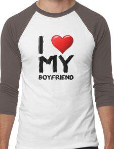 I love (heart) my boyfriend Men's Baseball ¾ T-Shirt