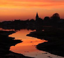 Fiery Sunset At Bosham Harbour by Jane Burridge