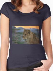 African Lion Cub Women's Fitted Scoop T-Shirt