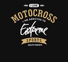 I Live Motocross White and Brown Extreme Sports Unisex T-Shirt
