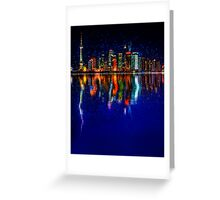 Starry City colorful skyline Greeting Card