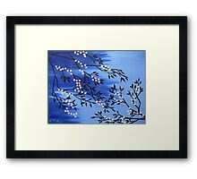 Cherry blossom peach / apricot and blue with snow flakes Framed Print