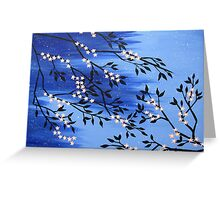 Cherry blossom peach / apricot and blue with snow flakes Greeting Card