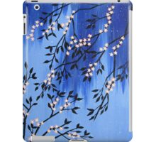 Cherry blossom peach / apricot and blue with snow flakes iPad Case/Skin