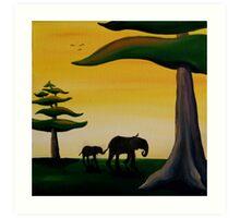 Elephant Silhouette Art Print