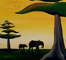 Elephant Silhouette by Sarah  Mac