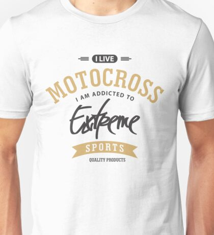 I Live Motocross Black and Brown Extreme Sports Unisex T-Shirt
