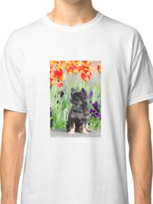 Dog and flowers Classic T-Shirt