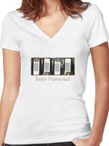 BEER POWERED! Women's Fitted V-Neck T-Shirt