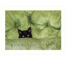 Green-Eyed Girl On Papason Chair Art Print