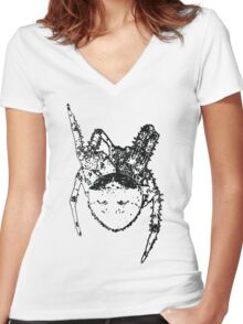 Cat Face Spider  Women's Fitted V-Neck T-Shirt