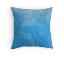 Fish & Dolphins in Blue Fan Coral Throw Pillow