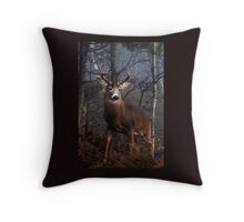 Buck on ridge portrait - White-tailed Deer Throw Pillow