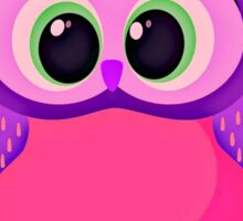 pink and lilac cute baby owl on a chevron background  Sticker