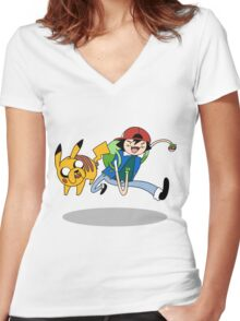 Pokemon Adventure Time Women's Fitted V-Neck T-Shirt