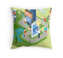 Isometric Virtual Shopping Concept Throw Pillow