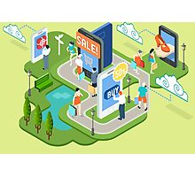 Isometric Virtual Shopping Concept Photographic Print