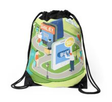 Isometric Virtual Shopping Concept Drawstring Bag