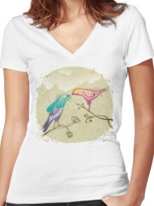 pair of love birds Women's Fitted V-Neck T-Shirt
