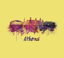 Athens OH skyline in watercolor Kids Tee